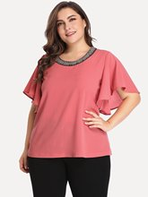 Summer Women Blouse 5XL Plus Size Loose Pink Blouse And Womens Tops Ruffle Elegant Office Clothes 2019 Ladies Tops Big Size ruffle neckline and cuff blouse