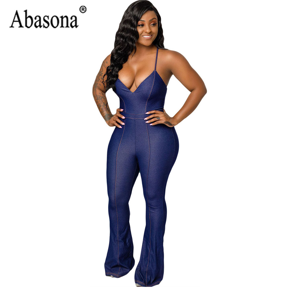 bc645080801a Abasona Sexy Tank Sleeveless Backless Denim Jumpsuit Women Solid Wide Leg  Jumpsuit Romper Womens Playsuits Summer Overalls