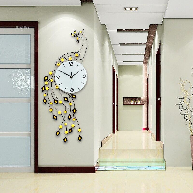 Fashion Peacock Wall Clock Modern Design Europe Wall Watch Living Room/Bedroom Big Home Decor Clock Wall Digital Wall Clocks