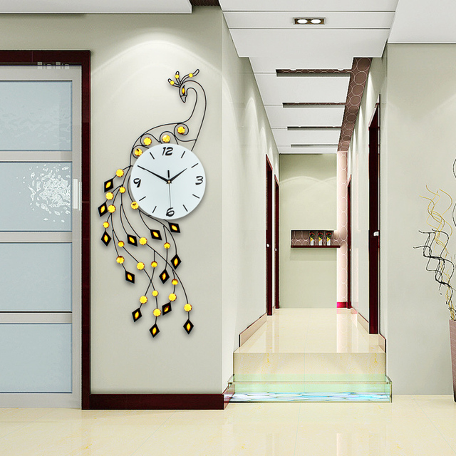 Foto Op De Muur.Mode Pauw Wandklok Modern Design Europa Muur Horloge Woonkamer