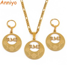 Anniyo RMI Pendant Necklaces and Earrings for Women Gold Color Stainless Steel Jewelry Gifts /CANNOT CUSTOMIZE THE NAME #046321