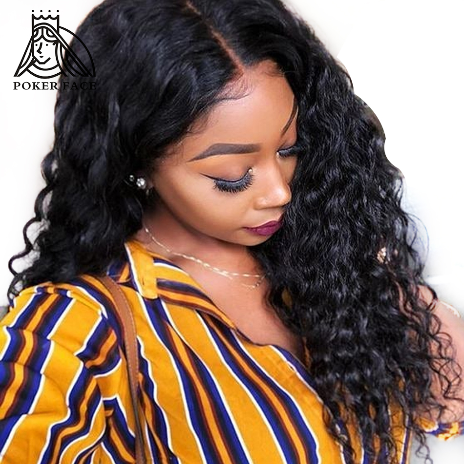 Poker Face Loose Wave Long Remy Hair Peruvian Lace Frontal Wigs 16 26 inch Weaves Human