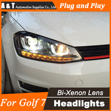 Car Styling Head Lamp for VW Golf 7 Headlights Golf  MK7 LED Headlight Projector GTI H7 Hid Option Angel Eye Bi Xenon Beam
