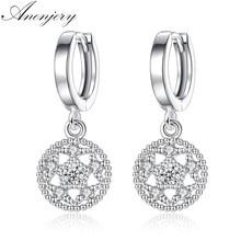 ANENJERY – boucles d'oreilles ajourées en argent Sterling 925 et Zircon pour femmes, bijoux en fleur de lotus, tendance, S-E583