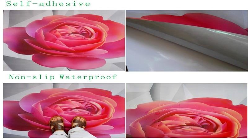 Papier peint photo 3d peinture au sol motif marbre gris salon salle de bain 3D sol auto-adhésif peinture au sol autocollants - 5