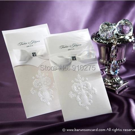 Whole 100pcs Lot Clic Envelope Design Wedding Invitation Cards White Ribbon Invitations Party