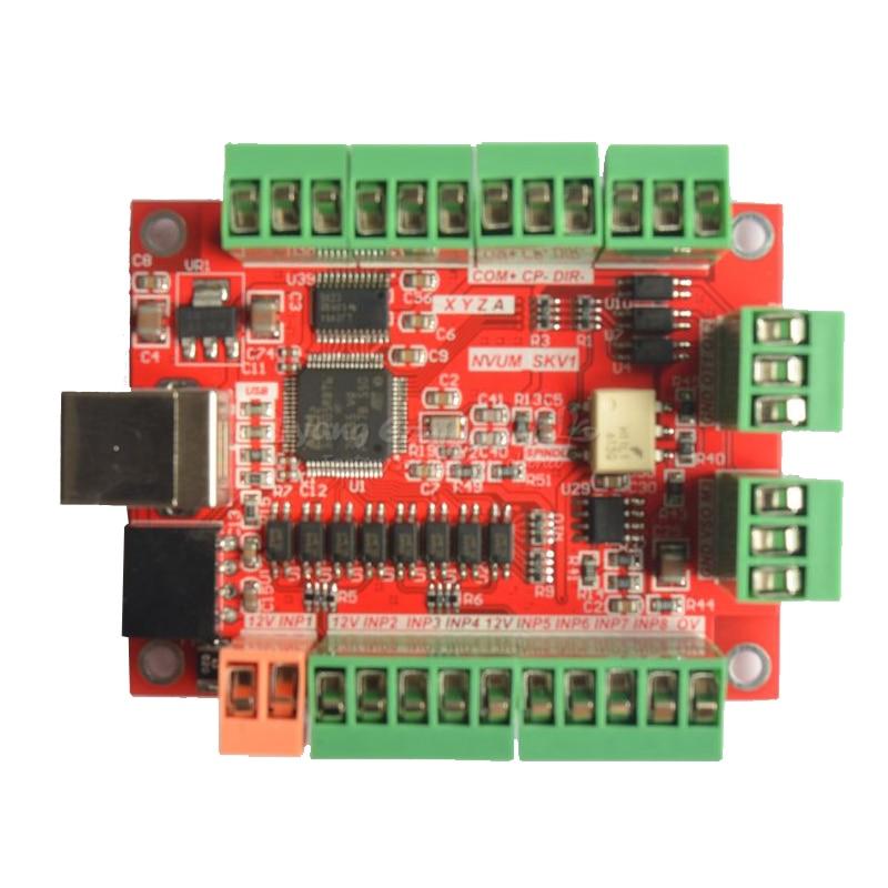 NVUM 4 Axis 100KHz USB MACH3 Control Card Smooth Stepper Motor Controller card breakout board for DIY CNC Engraving machine cnc mach3 usb 4 axis kit 4 axis driver 2dm542 mach3 4 axis usb cnc stepper motor controller card 100khz