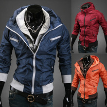 New 2014 Spring Stylish Preminum Vintage Jumper Hoody Double Zipper Fashion Mens Jackets Slim Fit Man Outerwear M-XXL