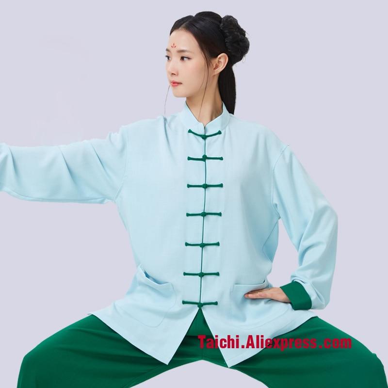 Anti-Wrinkle Flax Tai Chi Uniform Taiji Boxing Performance Clothing Linen Kung Fu  Suit  Wing Chun Uniform Chinese Style