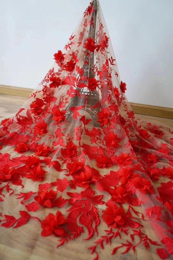 2019 dernière dentelle française jupe swing, rouge lourd broderie dentelle tissu avec 3d fleurs super délicat tissu