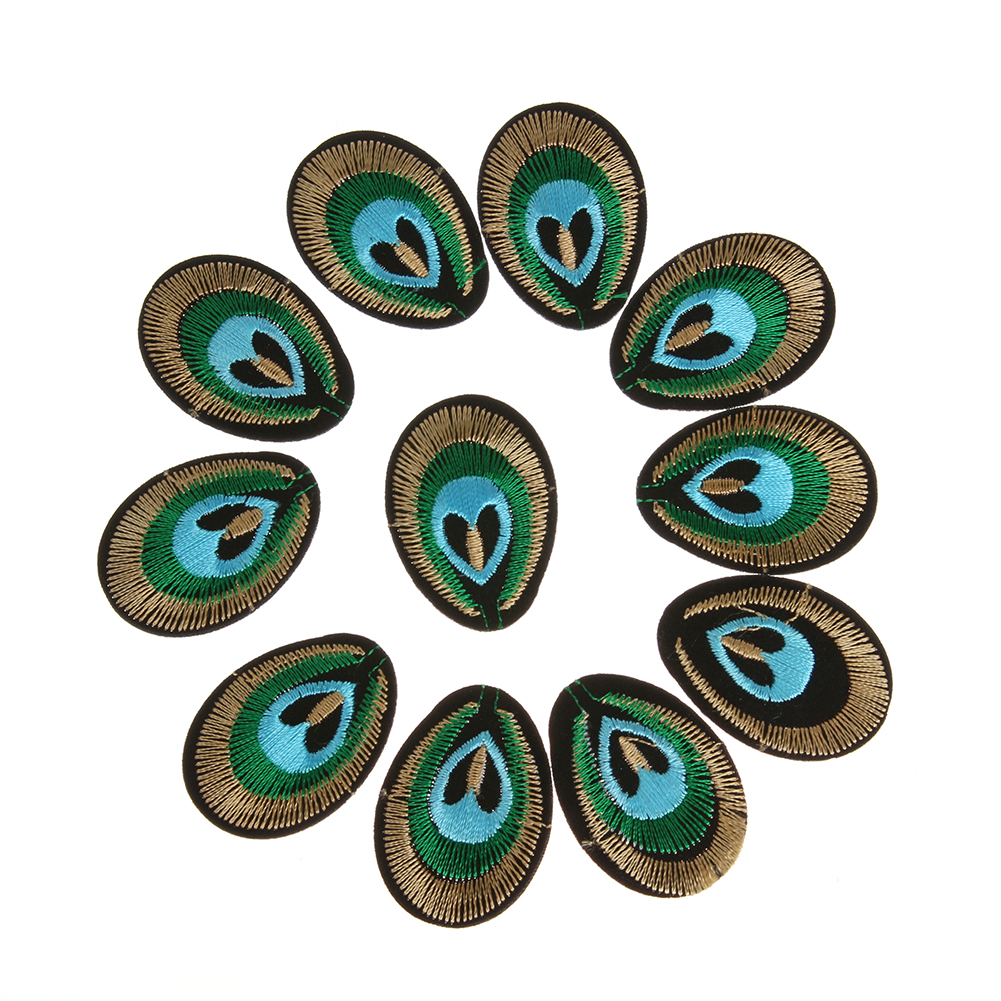 20pcs Peacock Eye 3D Embroidered Cloth Iron On Patch Sew Embroidery Peacock Eyes Cloth Cartoon Badge Garment Motif Applique