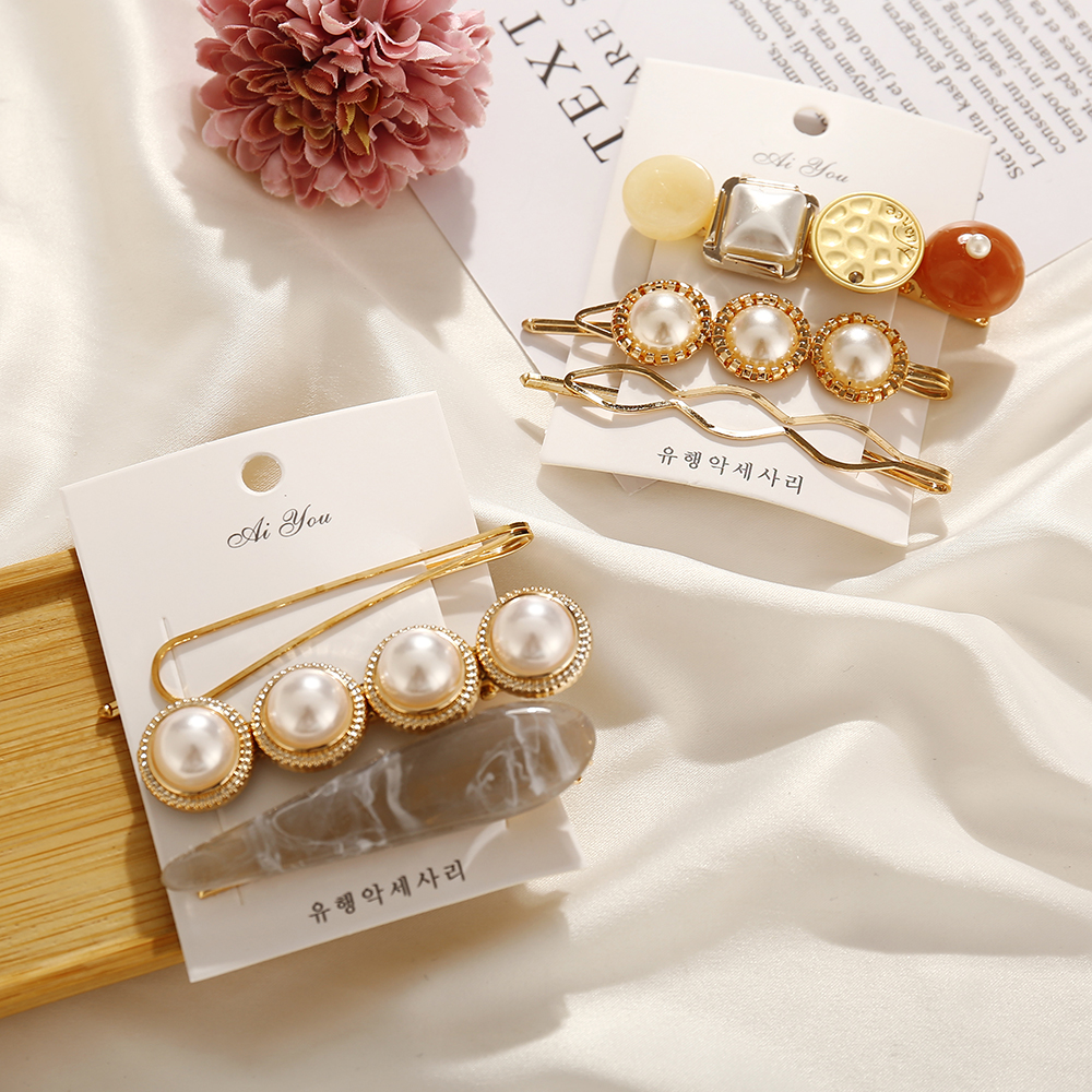 2019 Fashion Simulated-pearl Colorful Geometry Stone Hair Clips For Women Girls New Korea Hairpins Set Female Hairwear Jewelry(China)
