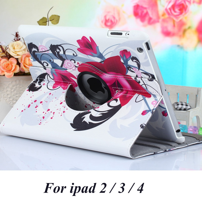 Case for Apple ipad 4 / 3 / 2 flag flower butterfly print rotate tablet flip PU leather protective Cover stand shell coque para  2016 new tablet case for apple ipad 4 3 2 flip stand alice in wonderland