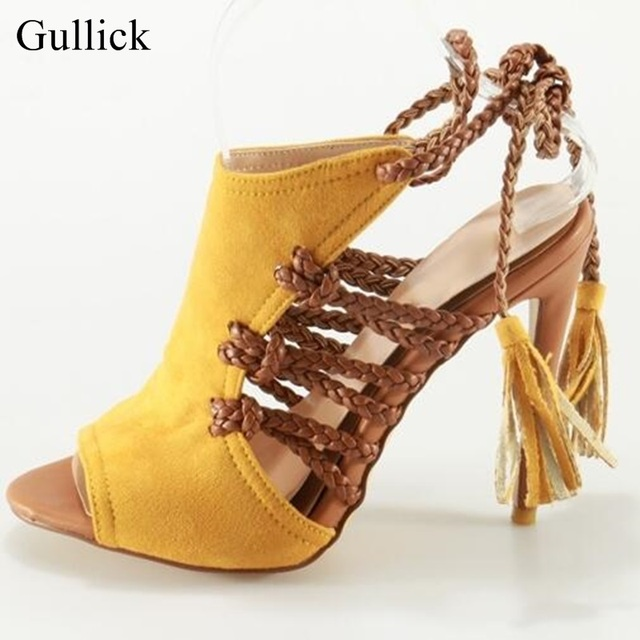 Gullick Brand Sexy Summer High Heels Sandals Yellow Lace-up Shoes Women  Peep toe Braided String Strappy Sandals Big Size 10 29660834dbab