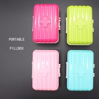 6 Cells Medical Kit Suitcase Plastic ABS Portable Pillbox