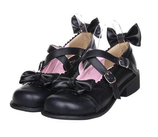 Lolita 2 Cm Cosplay Dame 47 Black Empreinte 33 Bas black Pompes wedges Talons Femme Princesse 5 Fille Femmes white Chaussures Étudiants Partie Mori Angélique Pu Robe Pl 3cm lF1TJKc3