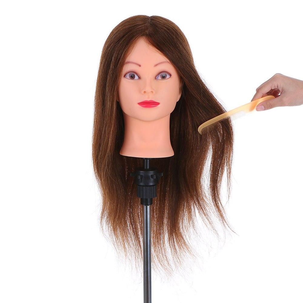 Pro 24 100% Vrais Cheveux Humains De Coiffure Formation Tête Salon Mannequin Tête + Pince Pratique Tête De Coiffure Outil Pratique