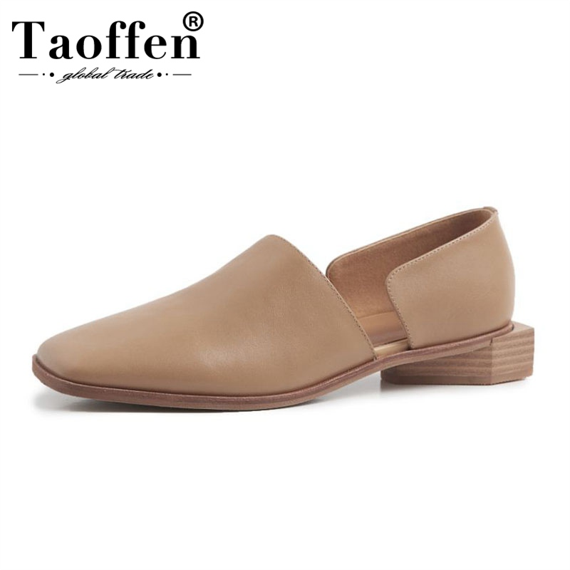 TAOFFEN Real Leather Daily Office Ladies Flats Shoes Women Square Toe Simple Leisure Summer Vacation Flats