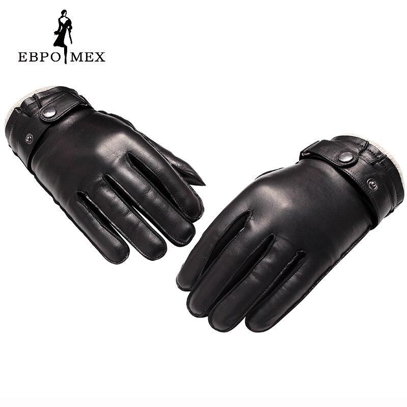 Guantes de cuero genuino de calidad superior guantes de cuero de moda para hombre guantes de conducción Vintage guantes cálidos de invierno piel de cordero marrón - 4