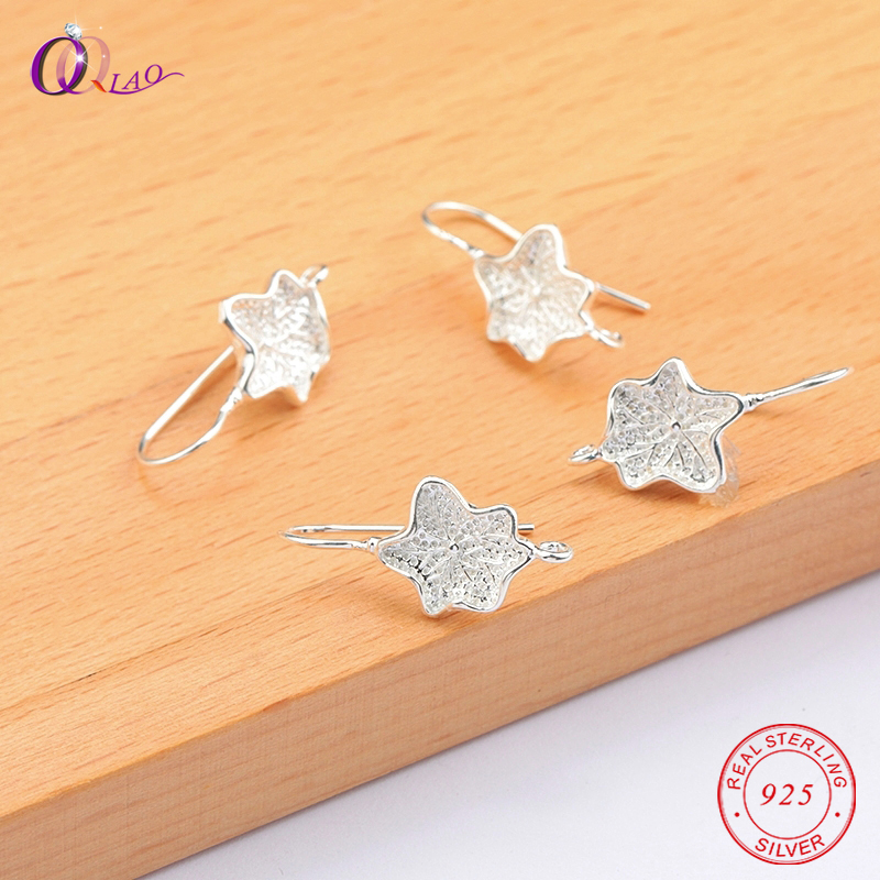 A pair 925 sterling silver Lotus leaf Earring Ear Pins Unique Lotus leaf Earrings Hooks for jewelry making Earring accessories