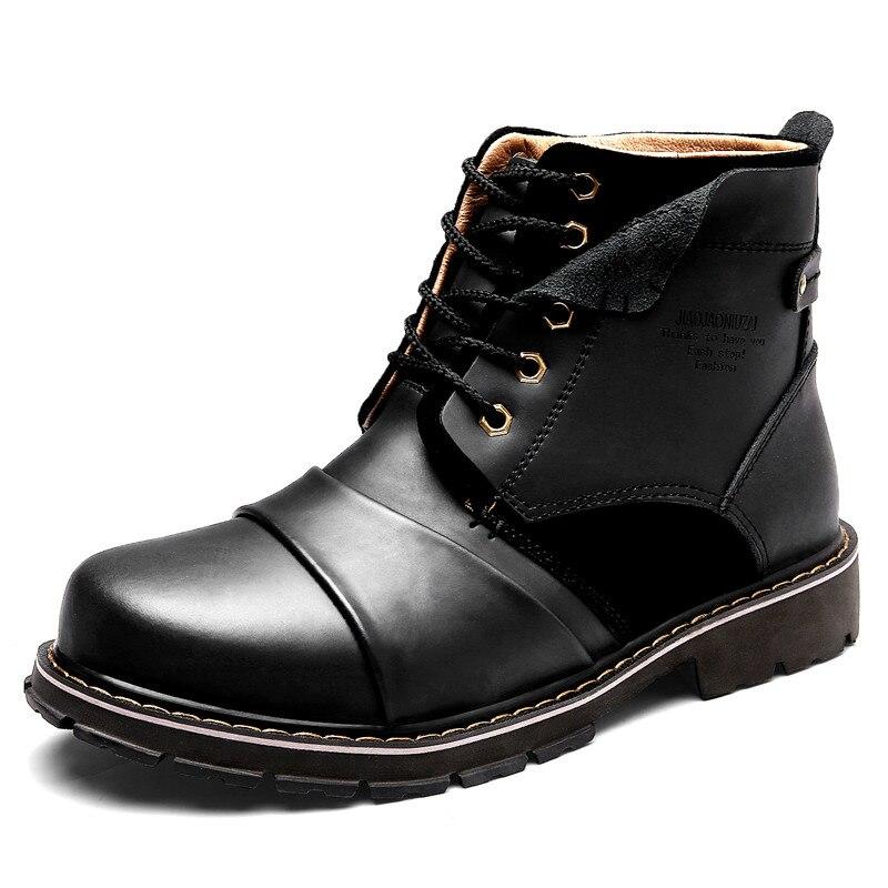 2019 осенне зимние Армейские Ботинки Martin, мужские кожаные ботильоны, очень теплые зимние ботинки, мужские повседневные военные ботинки высок