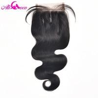 Ali Coco Hair Brazilian Body Wave 4x4 Lace Closure 8 20 Inch Three Part 100 Human