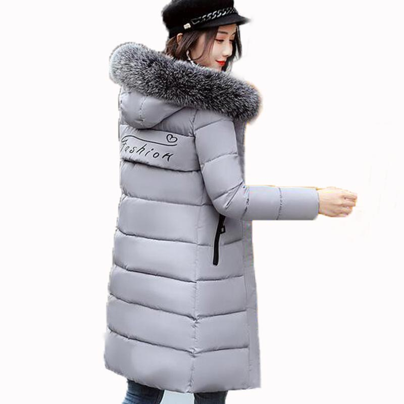 2017 New cotton Jacket Coat Winter Women Thickening Parkas Fur Collar Female jacket Long women's jacke Hooded Outerwear QH0349 2015 winter jacket women cotton padded jacket women fur collar ladies winter coat thickening outerwear long denim parkas h4451