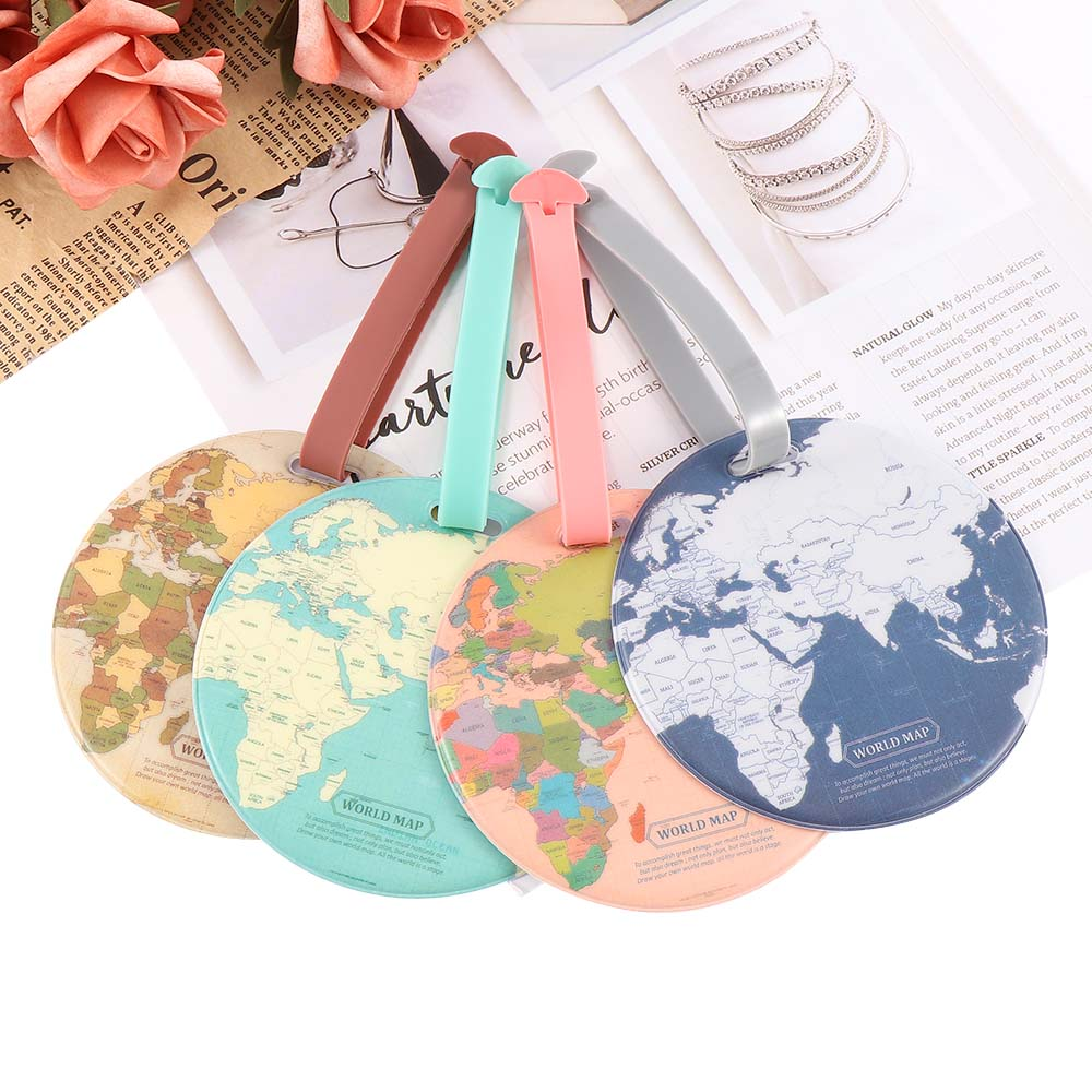 Fashion Map Luggage Tag Travel Accessories Silica Gel Suitcase ID Address Holder Baggage Boarding Tag Portable Label Bag(China)