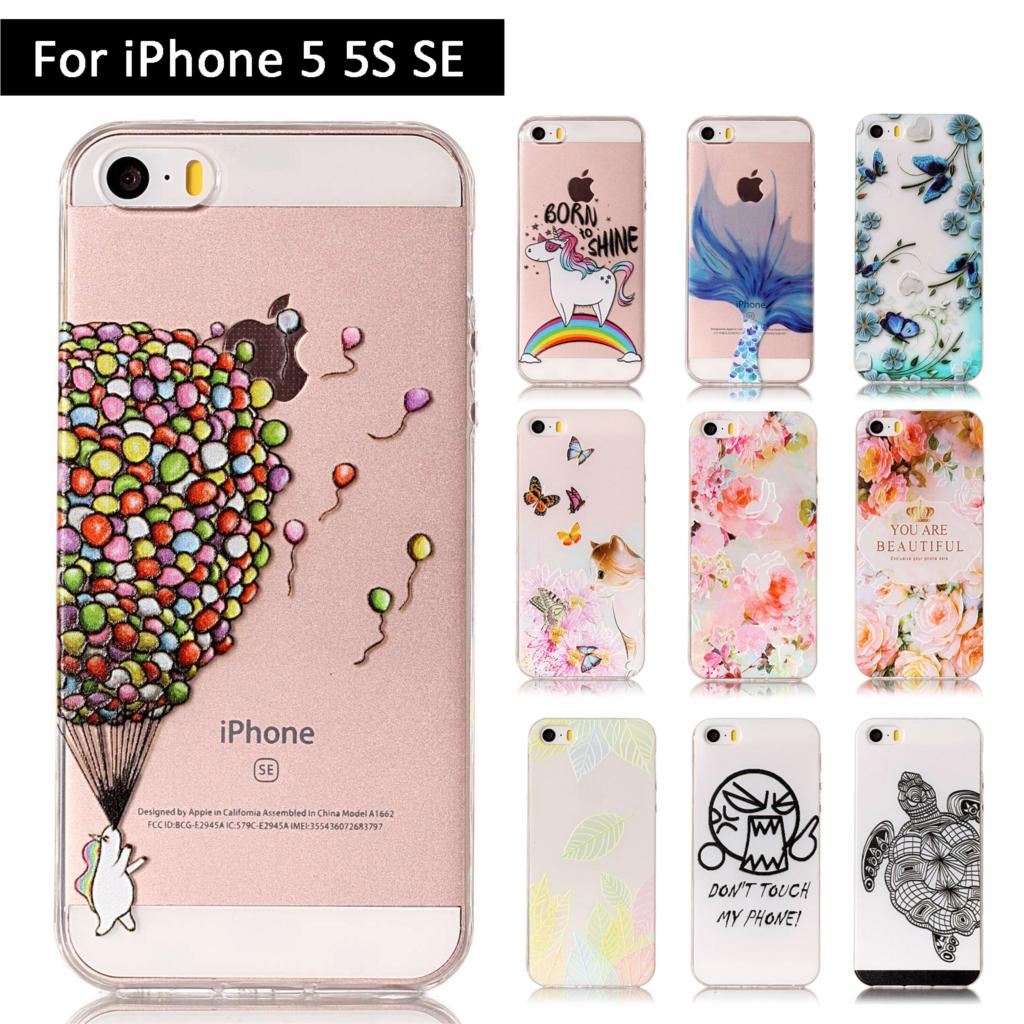 Luxury 3D Relief Case For Apple iPhone 5 5S SE Soft TPU Silicone Phone Cover for