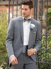 2016 Gray Cutaway Tuxedos With Single Button Luxury Slit Fit Bridegroom Tuxedos Men Suits Cummerbund (Suit+Pants+Vest)