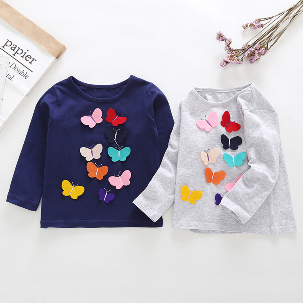 Tops Applique Long-Sleeve Butterfly Toddler Girls Fashion-Design Kids Outfits Baby Bow