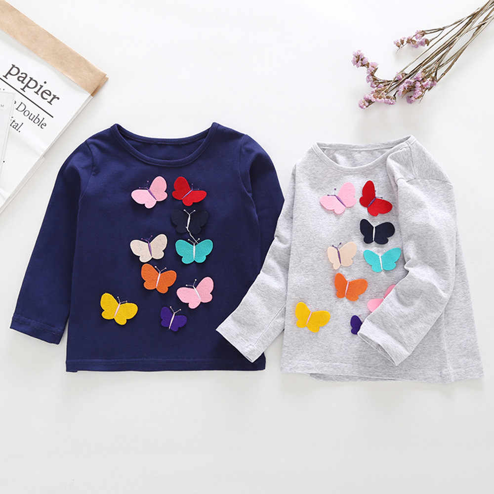 Toddler Stylish fashion design Baby Kids Girls Bow Long Sleeve Butterfly Applique Tops Outfits Clothes clothes