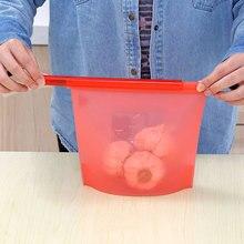 1000ML Reusable Silicone Vacuum Zip Lock Food Sealed Bag Fruit Storage Refrigerator Freezer Bags