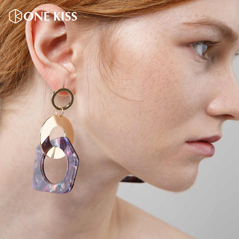 Vintage Polygonal geometry Acetate Acrylic Dangle Earrings For Women Round Alloy statement Drop Earring  Jewelry Gift wholesale