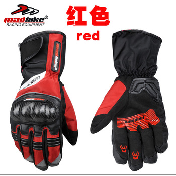 Winter Biking Gloves | MAD-BIKE Motorcycle Winter Warm Waterproof Cold Fall Proof Gloves Carbon Fiber Protection Cycling Gloves