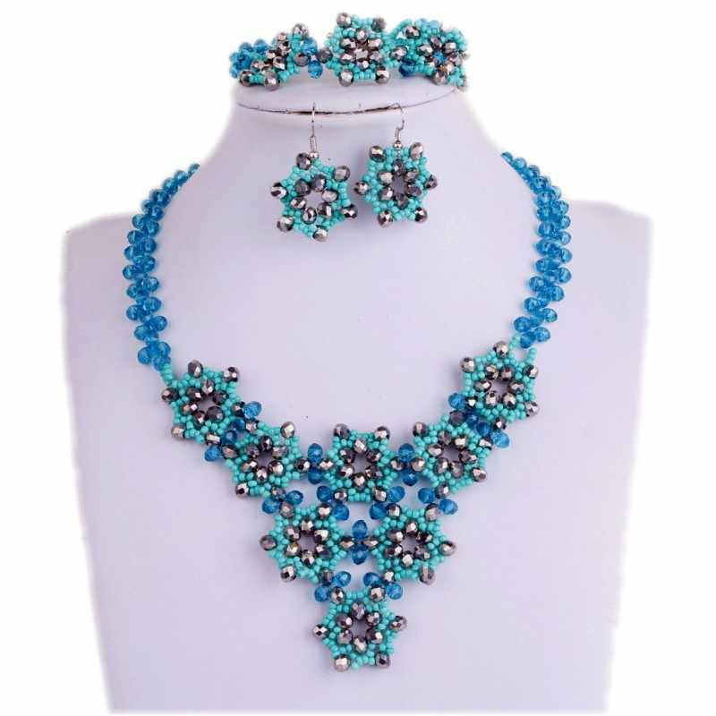 Teal green Wedding Jewellery Set Bridal Jewelry Handmade Flowers African Necklace Pendant Set Silver Dubai Jewelry Set Free Ship