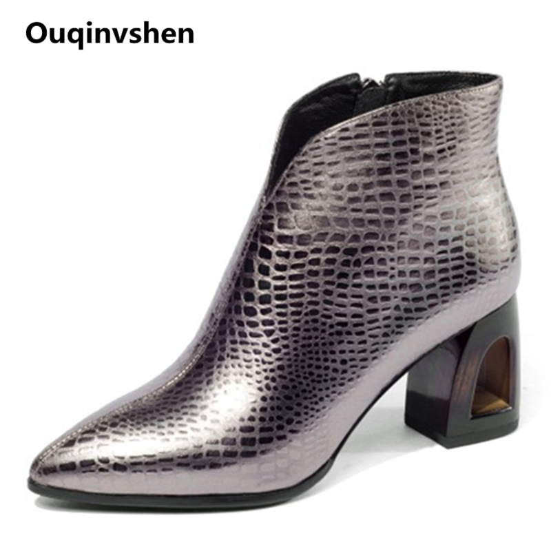 Ouqinvshen Sheepskin Pointed Toe Black For Boots Women Sewing Autumn Plush High Heels Boots Fretwork Heels Ankle Boots Women ouqinvshen pointed toe thin heels women boots ladies super high heels ankle boots casual fashion butterfly knot women s boots