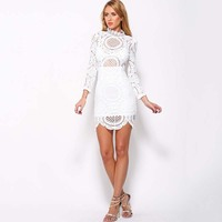 New 2016 Summer Top Fashion Hollow Out Elegant White Lace Elegant Party Dress High Quality Women