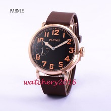 New 46mm Parnis black dial rose golden case 17 jewels 6497 hand winding movement Men's Watch