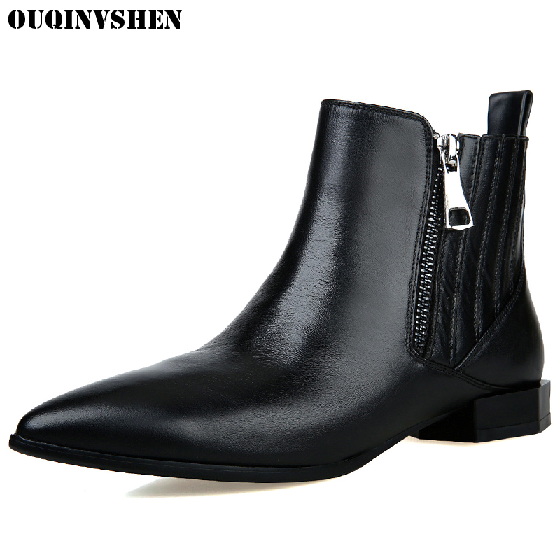 OUQINVSHEN Metal Decoration Pointed Toe Ankle Boots New Zipper Square heel Black Women Boots Casual Fashion Sewing Ladies Boots fashion pointed toe lace up mens shoes western cowboy boots big yards 46 metal decoration