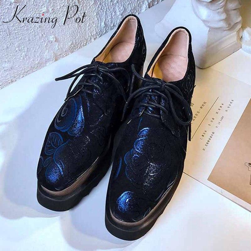 Krazing Pot oriental mouton daim modèles cuir haute couture compensées pompes à talons hauts haute qualité broderie chaussures de luxe L04-in Escarpins femme from Chaussures    1