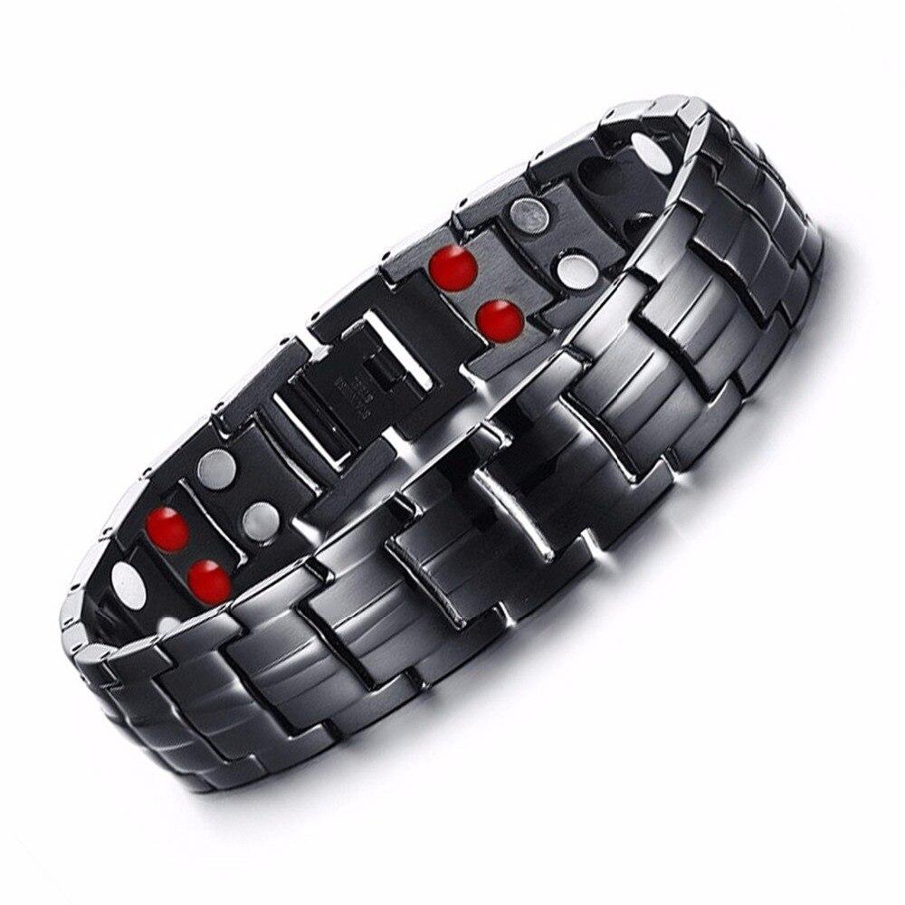 Baisse-Expédition Punk de L'énergie Sain Bracelet Noir Chaîne Lien Bracelets Bijoux En Acier Inoxydable Aimant Bracelets pour Hommes Bijoux