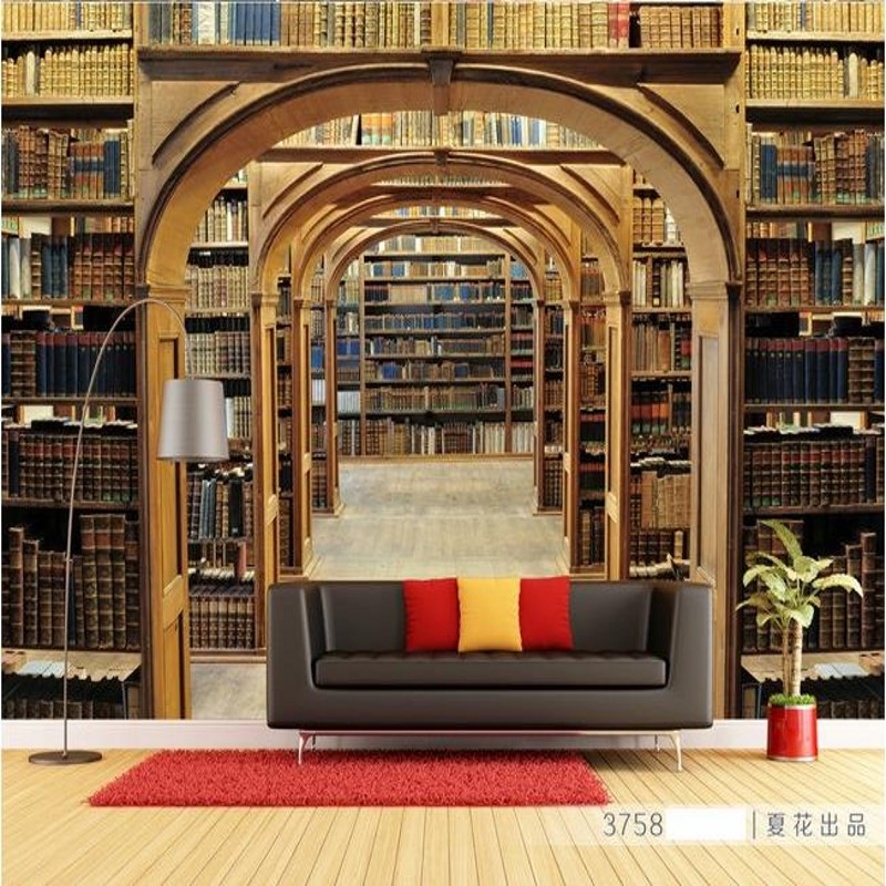 Custom 3d mural European style mural living room sofa Bookcase Library TV background personalized 3D custom wallpaper mural book knowledge power channel creative 3d large mural wallpaper 3d bedroom living room tv backdrop painting wallpaper