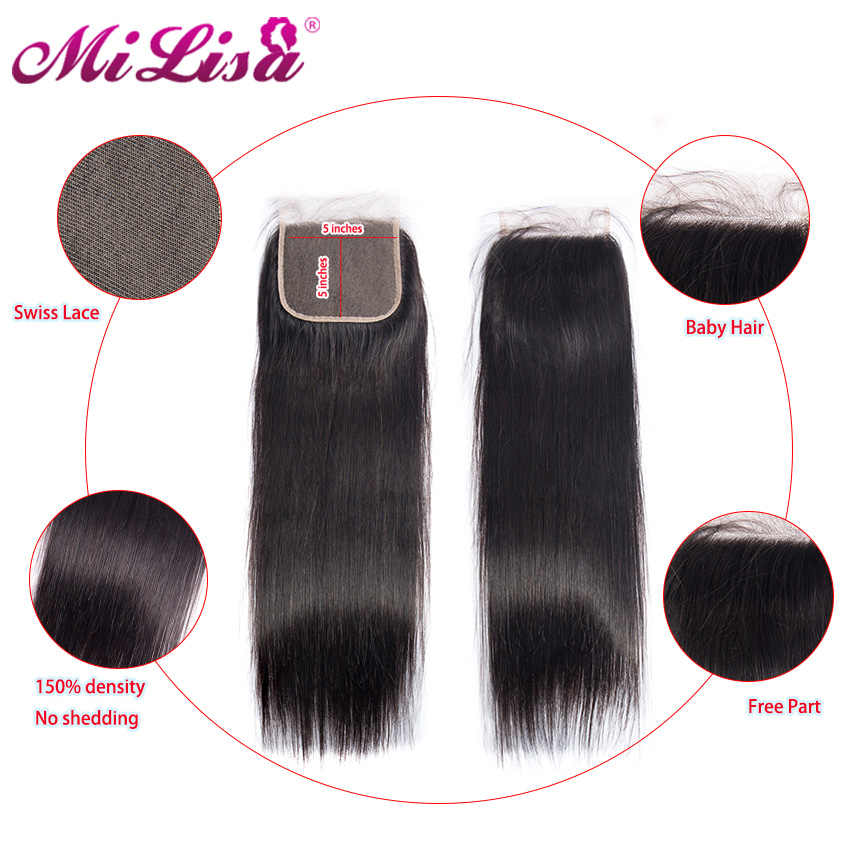 5x5 Lace Closure Straight Human Hair Closure With Baby Hair Mi Lisa Medium Brown Swiss Color Brazilian Hair Closure