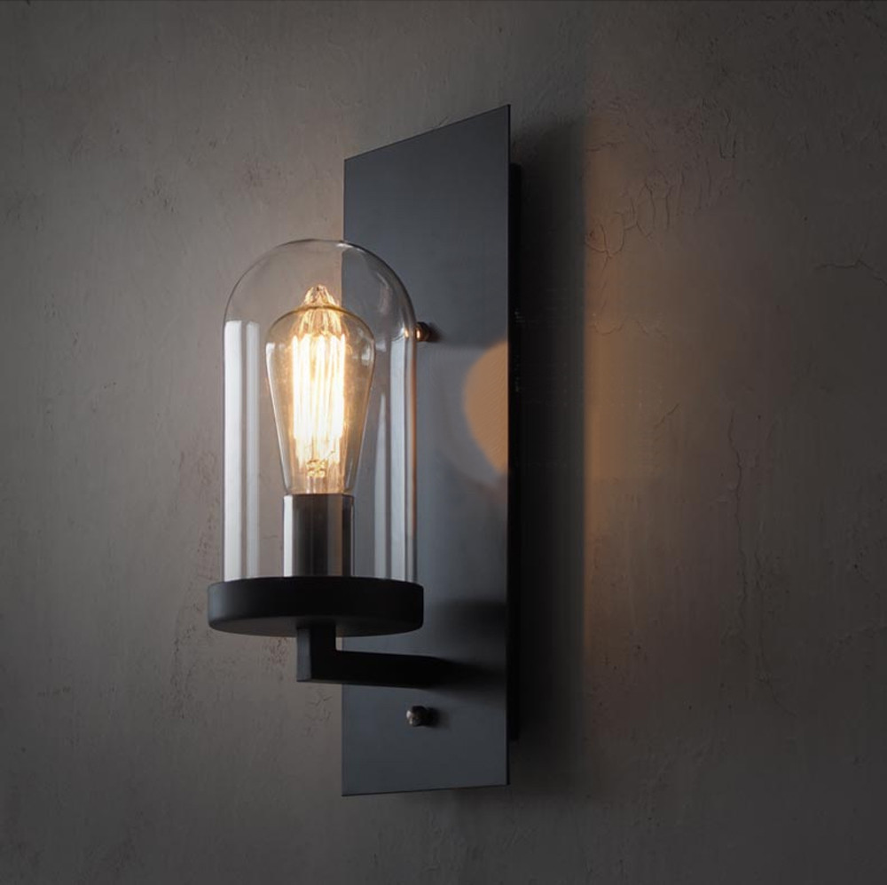 Vintage Wall Lamp Glass Iron Wall Lights Black Light