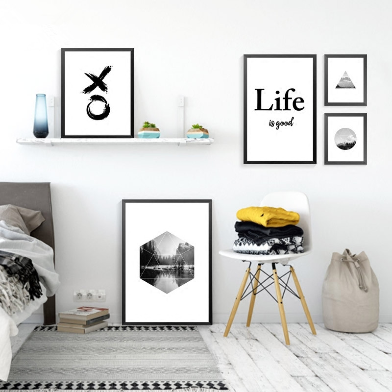 Nordic black white abstract landscape letters art canvas for Living room 6 letters