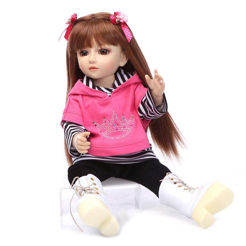 45CM BJD Doll 18 Inch Girl Doll Include Clothes Shoes,Plastic Baby Princess Doll Plaything Toy for Children Birthday Gifts american girl doll clothes 4 styles elsa blue lace princess dress doll clothes for 16 18 inch dolls baby doll accessories x 2