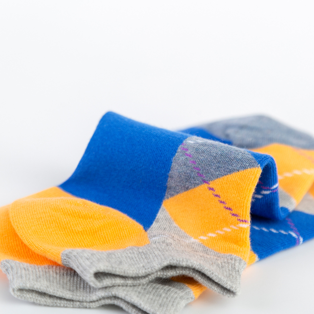Men's Casual Novelty Colorful Summer Funny Ankle Socks Happy Combed Cotton Short Socks Diamond Dress Boat Socks 6