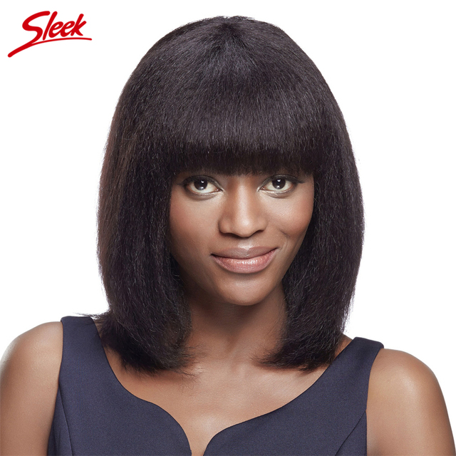 Sleek Brazilian Kinky Straight Non Lace Human Hair Wigs Perruque Cheveux Humain Italian Yaki Straight Wig 14 Inch KAREN