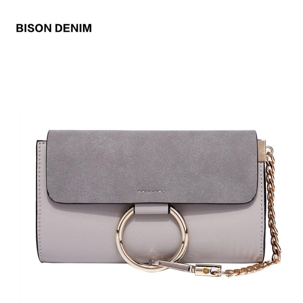 BISON DENIM Women Shoulder Bag Small Envelope Messenger Bag PU Leather Female Crossbody Bag Metal Circle